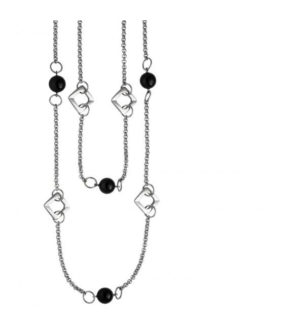 Collier Halskette 2-reihig aus Edelstahl mit schwarzem Achat 55 cm Kette.