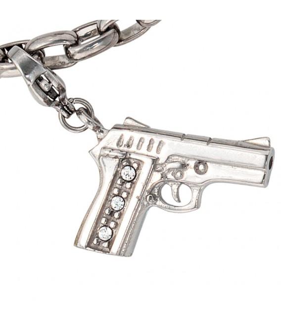 Einhänger Charm Pistole Edelstahl mit SWAROVSKI® ELEMENTS.