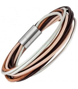 Armband 13-reihig Leder braun - 4053258334003