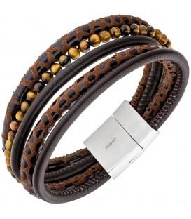 Armband 5-reihig Leder braun - 4053258334072