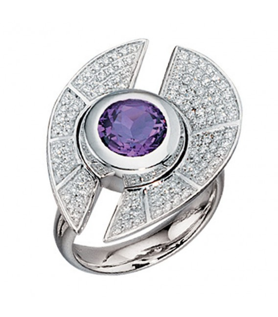 Damen Ring 585 Gold Weißgold 109 Diamanten Brillanten 1 Amethyst lila violett. Zoom