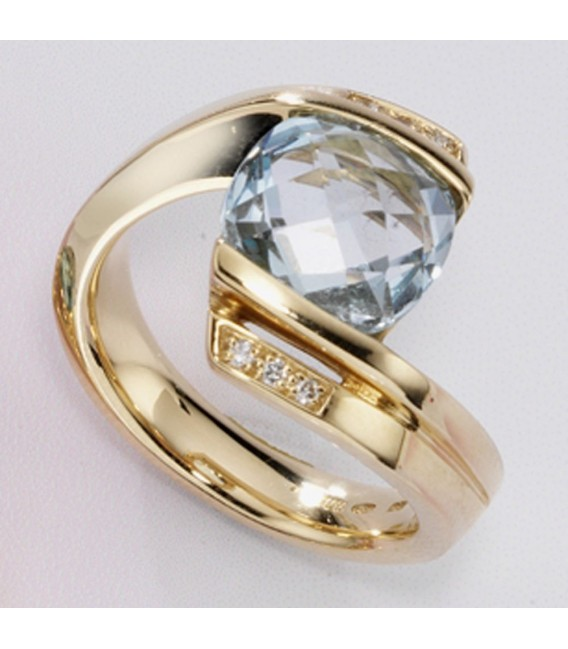 Damen Ring 585 Gold Gelbgold 1 Blautopas hellblau blau 6 Diamanten Brillanten. Zoom