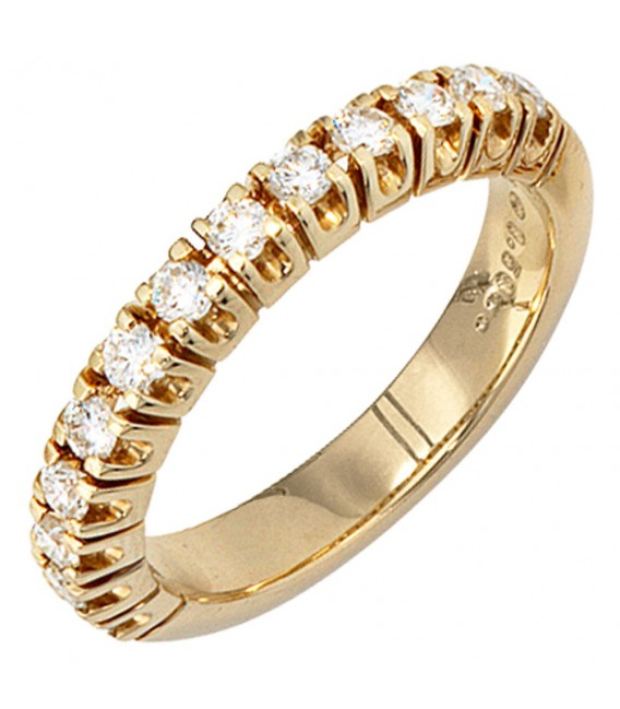 Damen Ring 585 Gold Gelbgold 13 Diamanten Brillanten 0,50ct. Goldring. Zoom