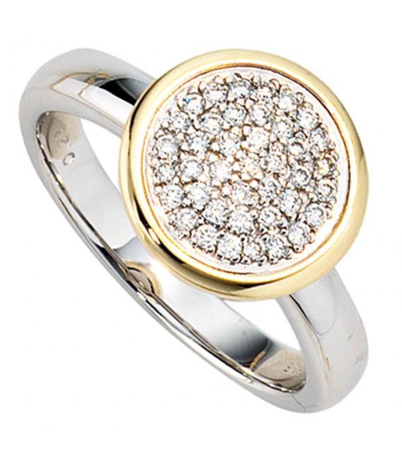Damen Ring 585 Gold Weißgold Gelbgold bicolor 40 Diamanten Brillanten Goldring.