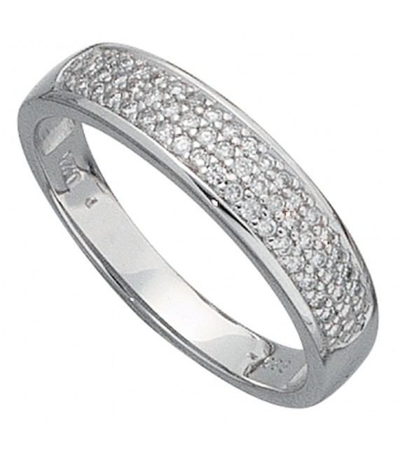 Damen Ring 585 Gold Weißgold 50 Diamanten Brillanten 0,25ct. Weißgoldring.