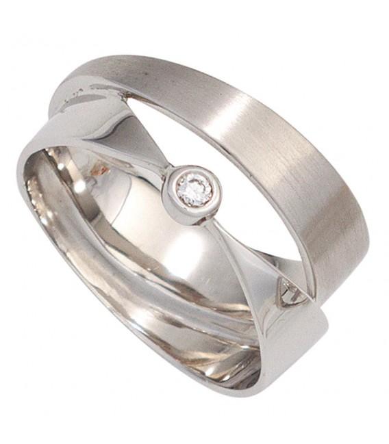 Damen Ring breit 585 Gold Weißgold matt mattiert 1 Diamant Brillant Weißgoldring.
