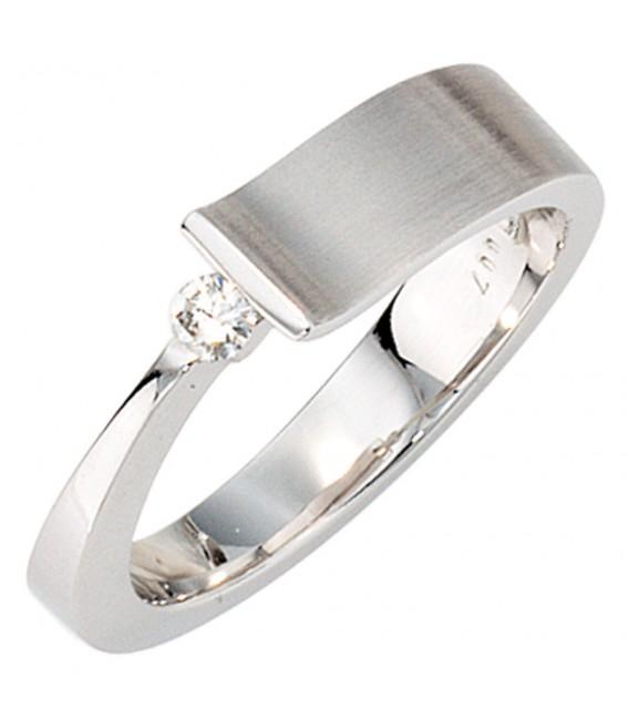 Damen Ring 585 Gold Weißgold teilmatt 1 Diamant Brillant 0,07ct. Weißgoldring.