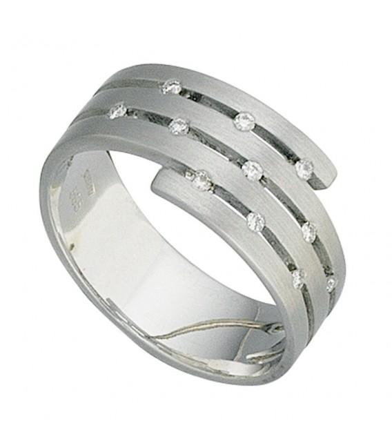 Damen Ring breit 585 Gold Weißgold matt 11 Diamanten Brillanten Weißgoldring.