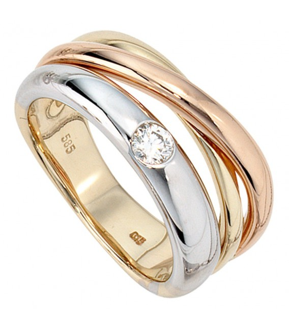 Damen Ring 585 Gold dreifarbig tricolor 1 Diamant Brillant 0,15ct. Goldring.