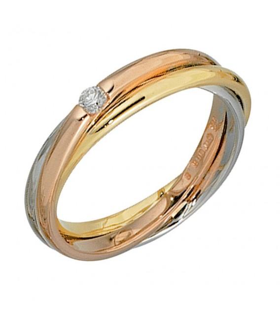 Damen Ring verschlungen 585 Gold tricolor dreifarbig 1 Diamant Brillant 0,06ct.