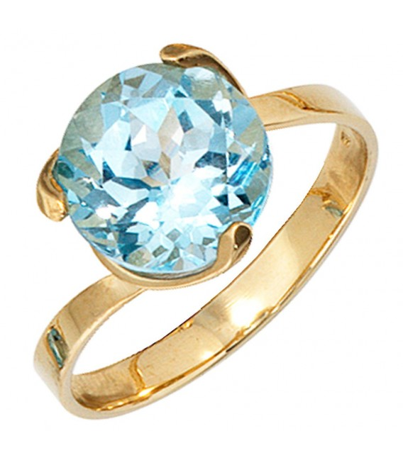 Damen Ring 585 Gold Gelbgold 1 Blautopas hellblau blau Goldring Topasring.