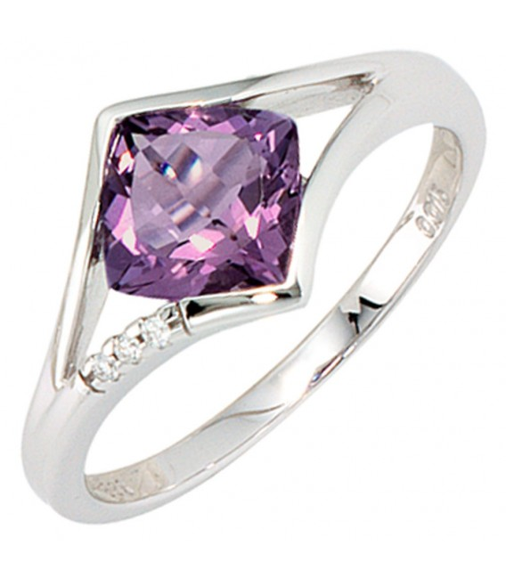 Damen Ring 585 Gold Weißgold 3 Diamanten Brillanten 1 Amethyst lila violett.