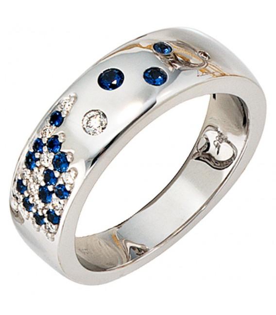 Damen Ring 585 Gold Weißgold 13 Diamanten Brillanten 0,10ct. 15 Safire blau.