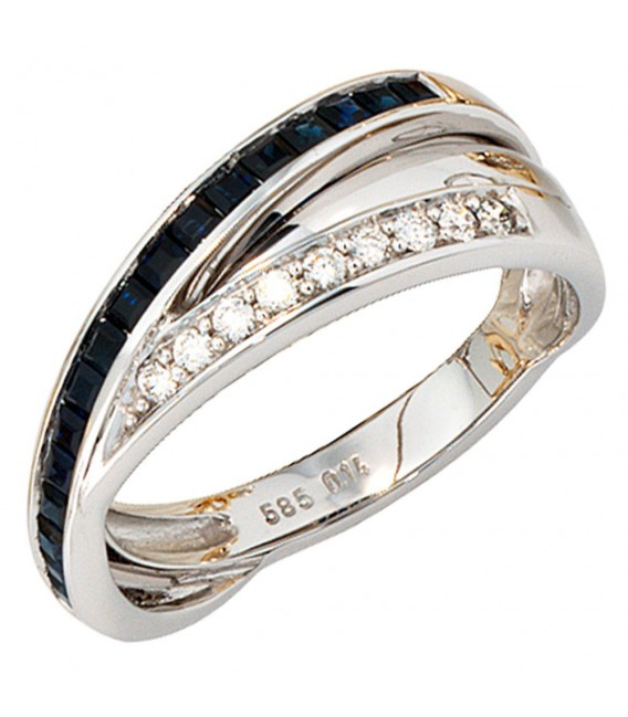 Damen Ring 585 Gold Weißgold 9 Diamanten Brillanten 0,14ct. 17 Safire blau. Zoom