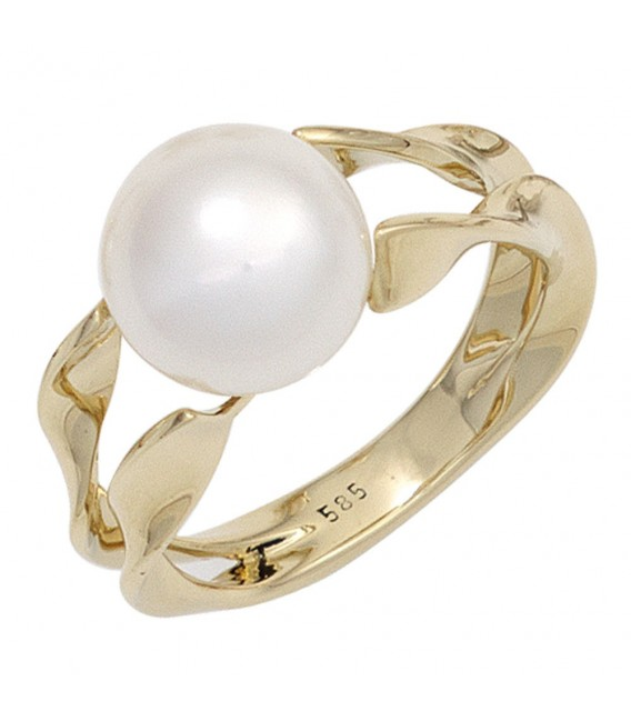 Damen Ring 585 Gold Gelbgold 1 Süßwasser Perle Goldring Perlenring.