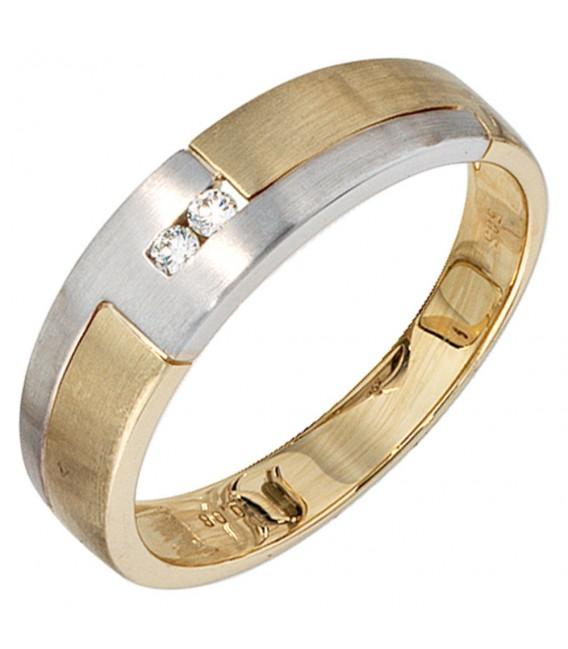 Herren Ring 585 Gold Gelbgold Weißgold mattiert 2 Diamanten Brillanten Goldring.
