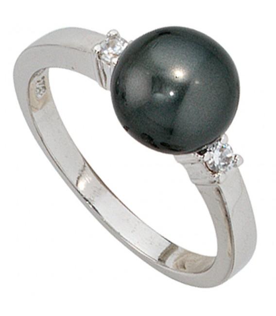 Damen Ring 925 Sterling Silber rhodiniert 2 Zirkonia Perlenring Silberring.