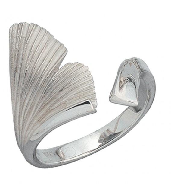 Damen Ring Ginko Ginkgo offen 925 Sterling Silber mattiert Handarbeit Silberring. Zoom