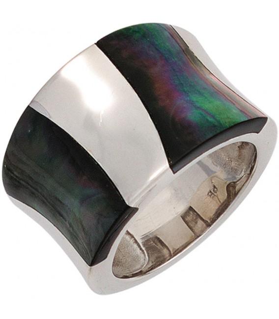 Damen Ring breit 925 Sterling Silber rhodiniert Perlmutt Einlagen Silberring.
