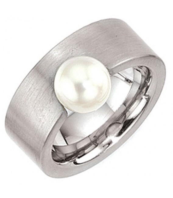 Damen Ring breit Edelstahl mattiert 1 Süßwasser PerlePerlenring.