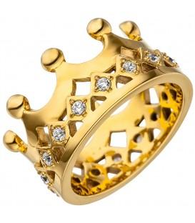 Damen Ring Krone Edelstahl - 4053258340189