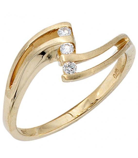Damen Ring 585 Gold Gelbgold matt 3 Diamanten Brillanten 0,09ct. Goldring.