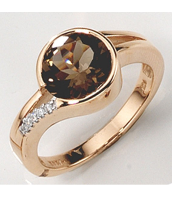 Damen Ring 585 Gold Rotgold 1 Rauchquarz braun 5 Diamanten Brillanten.