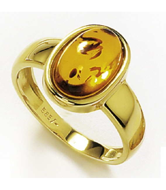 Damen Ring 585 Gold Gelbgold 1 Bernstein orange Bernsteinring Goldring. Zoom