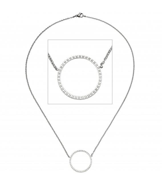 Collier Halskette mit Anhänger Kreis Edelstahl 40 Zirkonia - Bild 1 Zoom