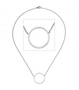 Collier Halskette mit Anhänger Kreis Edelstahl 40 Zirkonia - Bild 1 Produktbild