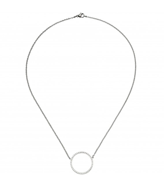 Collier Halskette mit Anhänger Kreis Edelstahl 40 Zirkonia - Bild 2 Zoom
