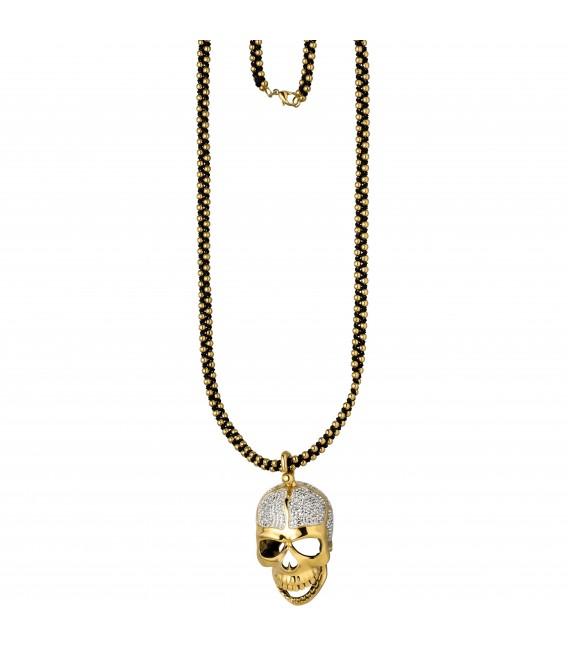 Kette mit Anhänger Totenkopf Edelstahl gold farben - Bild 1