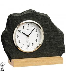 AMS 5114 Tischuhr Funk Holz Buche mit Glas Schiefer Naturschiefer Schieferuhr Produktbild