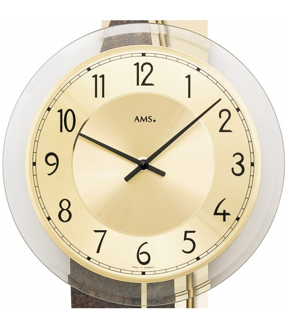 AMS 7453 Wanduhr Quarz mit Pendel Pendeluhr golden Naturstein Optik - Bild 2 Zoom