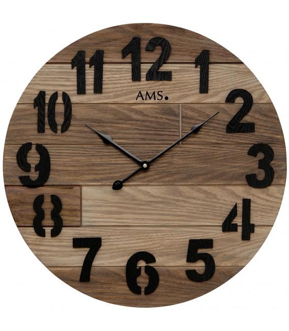 AMS 9569 Wanduhr Quarz analog Holz rund