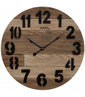 AMS 9569 Wanduhr Quarz analog Holz rund Produktbild