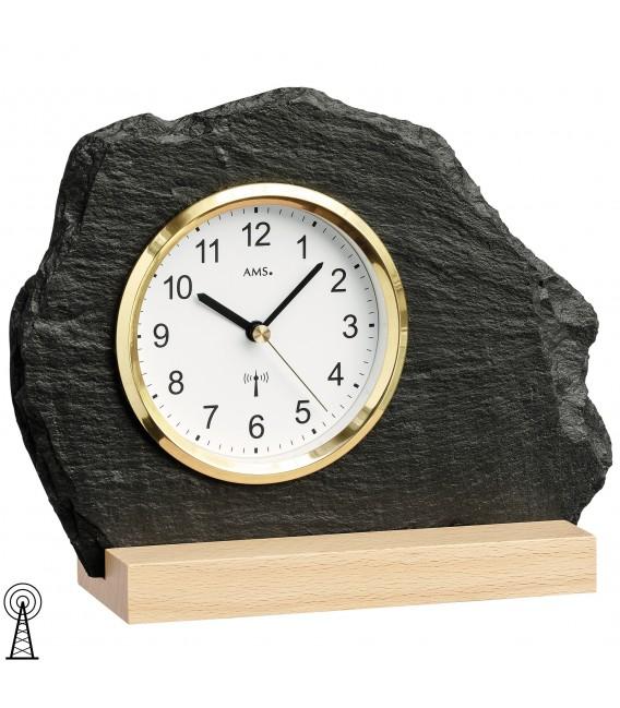 AMS 5115 Tischuhr Funk silbern golden Holz Buche mit Glas Schiefer Naturschiefer Zoom