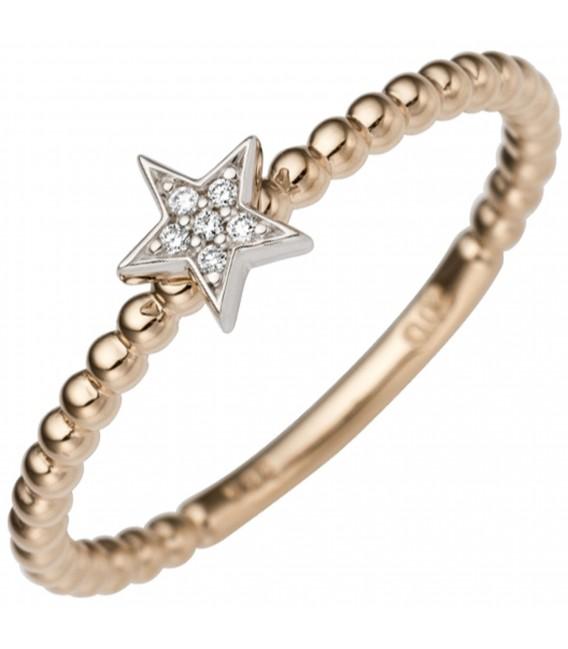 Damen Ring Stern 585 Gold Rotgold Weißgold bicolor 6 Diamanten Brillanten Zoom