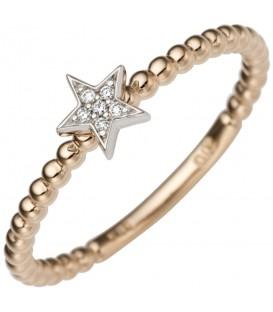 Damen Ring Stern 585 Gold Rotgold Weißgold bicolor 6 Diamanten Brillanten Produktbild