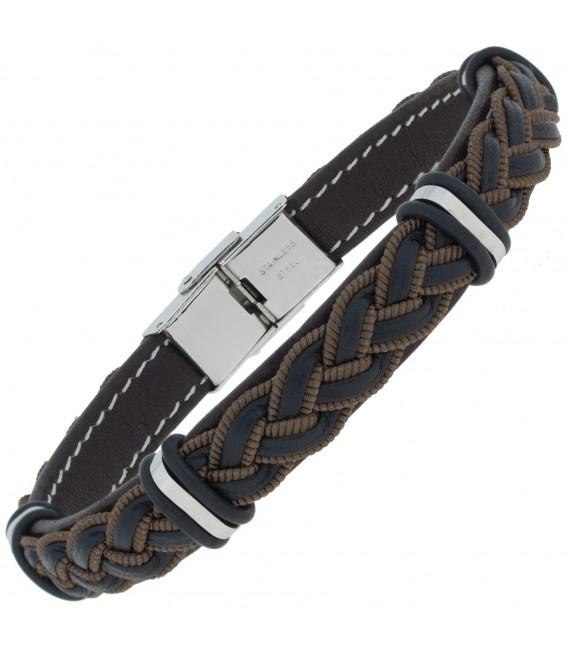 Armband Leder schwarz braun geflochten mit Edelstahl 21 cm ...