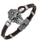 Armband Totenkopf Leder braun - 50600
