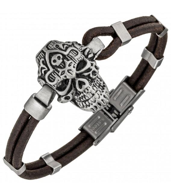 Armband Totenkopf Leder braun und Edelstahl matt 21 cm Zoom