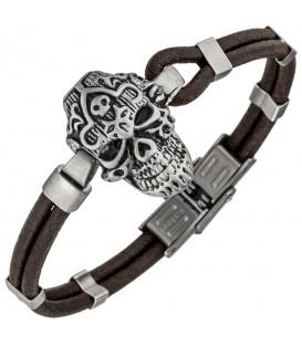 Armband Totenkopf Leder braun und Edelstahl matt 21 cm Produktbild