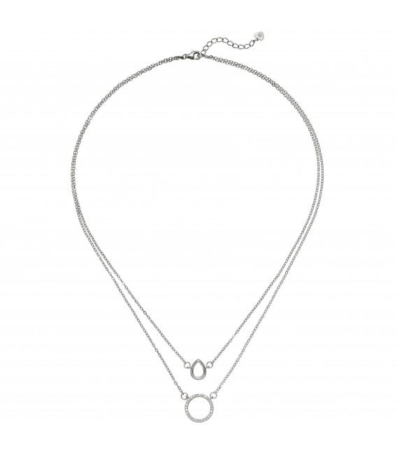 Kette mit Anhängern 2-reihig 925 Sterling Silber 28 Zirkonia 46 cm Halskette - Bild 1 Zoom