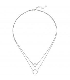 Kette mit Anhängern 2-reihig 925 Sterling Silber 28 Zirkonia 46 cm Halskette - Bild 1 Produktbild