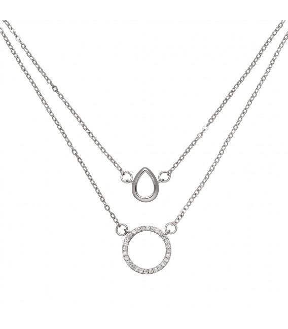 Kette mit Anhängern 2-reihig 925 Sterling Silber 28 Zirkonia 46 cm Halskette - Bild 2 Zoom
