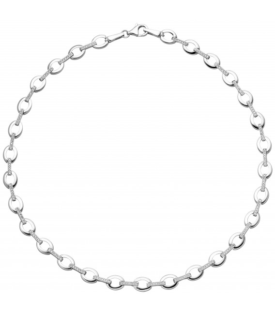 Collier Halskette 925 Sterling Silber 196 Zirkonia 44 cm Kette Silberkette - Bild 1 Zoom