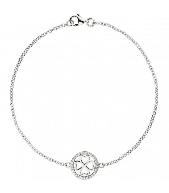Armband Kleeblatt 925 Sterling Silber 28 Zirkonia 19 cm Glücksbringer Zoom