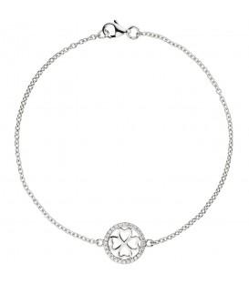 Armband Kleeblatt 925 Sterling Silber 28 Zirkonia 19 cm Glücksbringer Produktbild