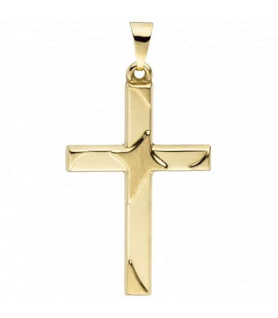 Anhänger Kreuz 375 Gold Gelbgold teil matt Kreuzanhänger Goldkreuz Zoom